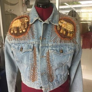 Ornate jean jacket made in Italy